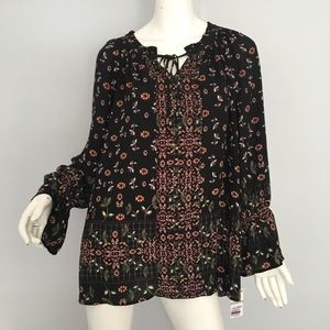 Style&co Plus Floral Tied Neck Top 1X